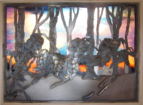 2.A Walk in the Woods, Sheet Metal, Plexi Glass, Acrylic Paint and  Gel Medium, 26 x 36, 2012