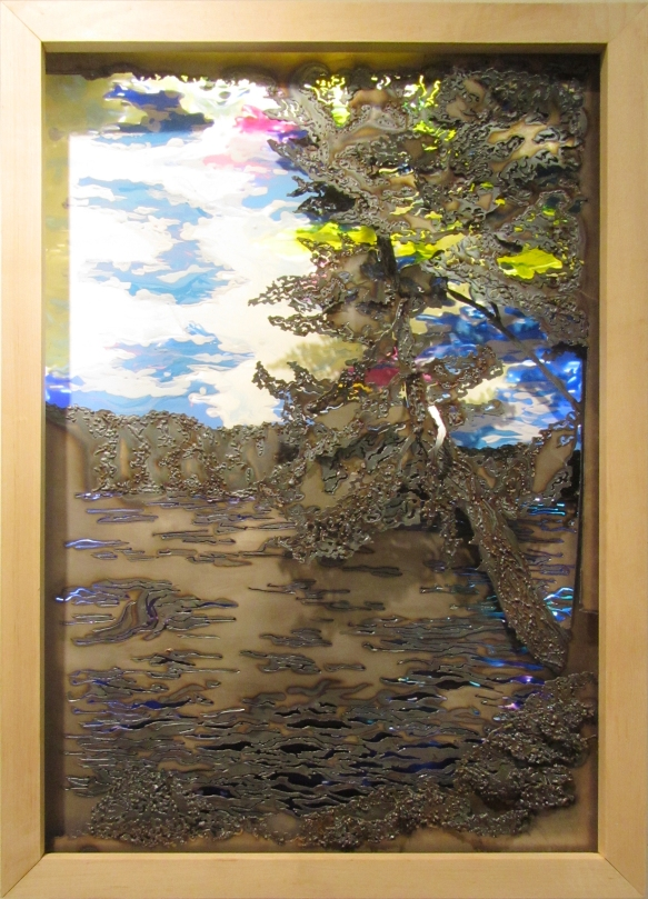 3.Off the Island, Sheet Metal, Plexi Glass, Acrlyic Paint and Gel Medium, 26 x 36, 2012