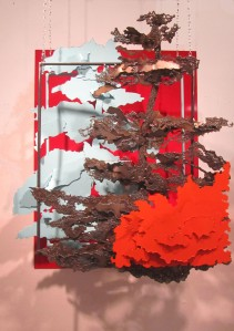 4. Kaylyn Roloson,Off the Bank, Sheet Metal, Spray Painted Metal, 35x43x12,2012