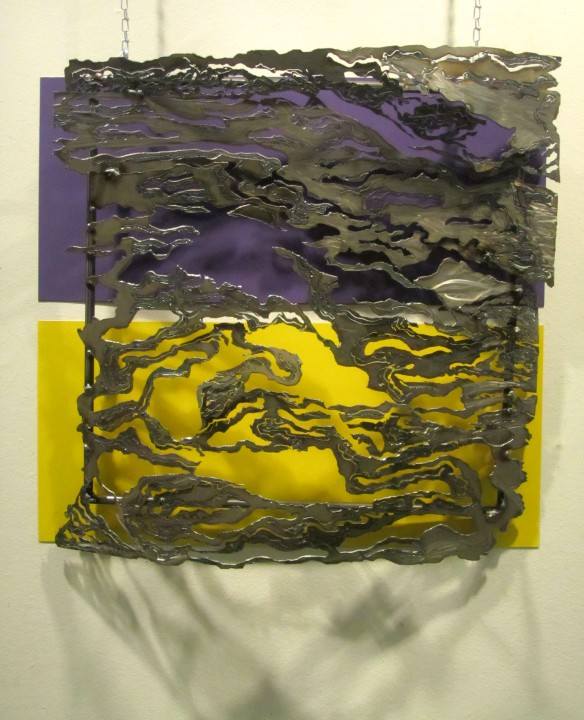 5. Kaylyn Roloson,The Wake, Sheet Metal, Spray Painted Metal, 27x27,2012